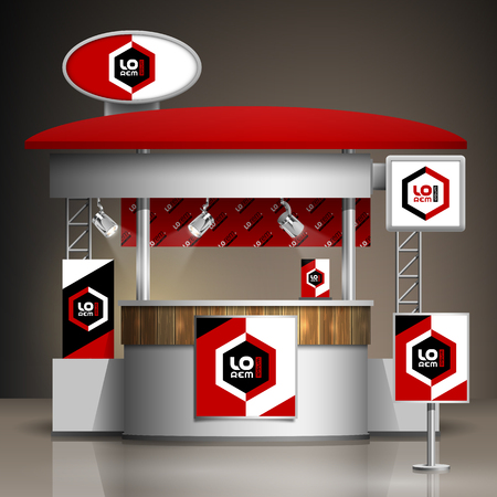 Classic exhibition stand design with color geometric elements. Booth template. Corporate identity 向量圖像