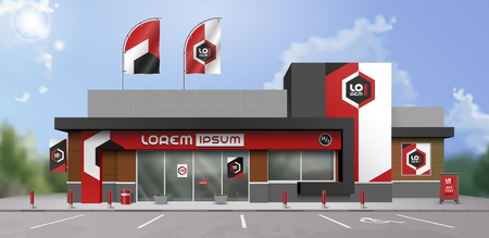 Classic store design with color geometric shapes. Elements of outdoor advertising. Corporate identity