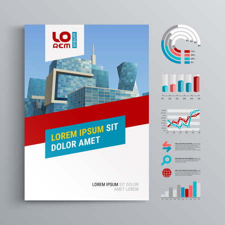 Business brochure template design with red and blue diagonal shapes. Cover layout and infographics