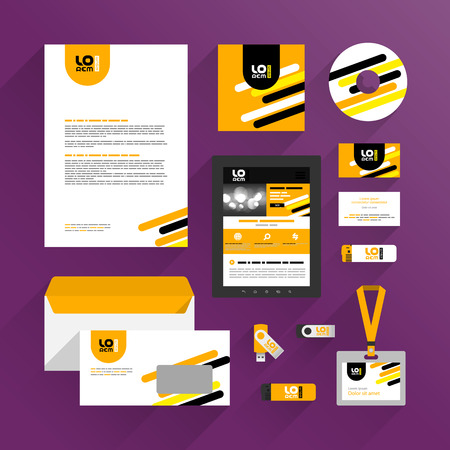 Orange corporate identity template design with black and yellow diagonal lines. Business stationery