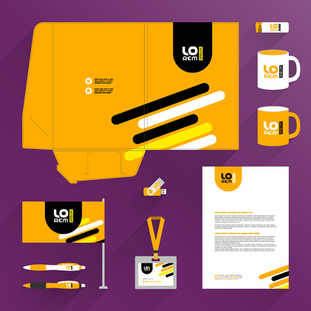 Orange folder template design and corporate identity set with black and yellow diagonal lines. Stationery set