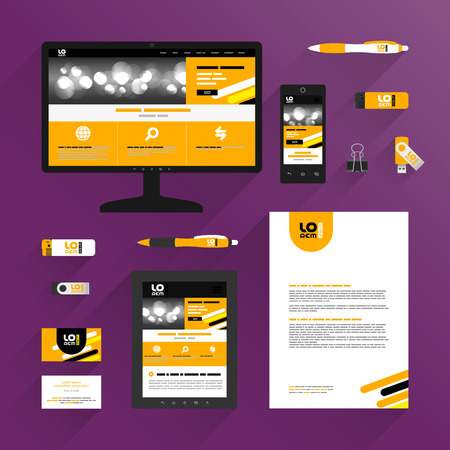 Orange application template design for corporate identity with black and yellow diagonal lines. Stationery set 向量圖像