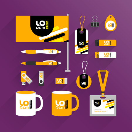 Orange promotional souvenirs design for corporate identity with black and yellow diagonal lines. Stationery set 向量圖像