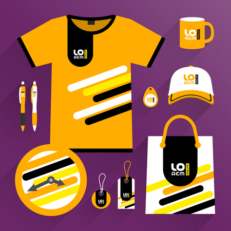 Orange promotional souvenirs design, uniform for corporate identity with black and yellow diagonal lines. Stationery set