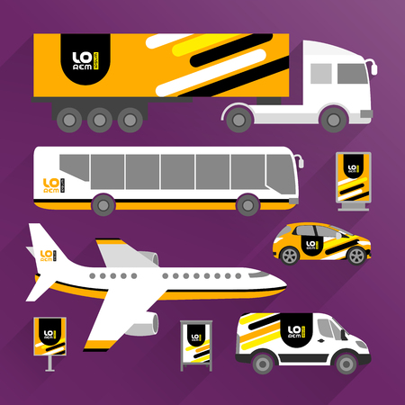 Orange transport advertising design with black and yellow diagonal lines. Templates of the truck, bus, passenger car and plane. Corporate identity