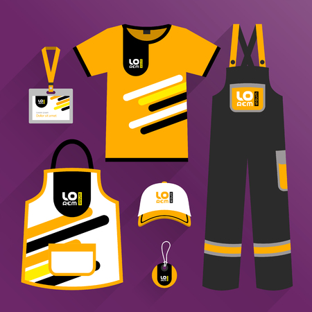 Orange promotional wear design, uniform for corporate identity with black and yellow diagonal lines. Stationery set 向量圖像
