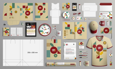 Vintage mosaic corporate identity template design with color art geometric figures. Business stationery 向量圖像