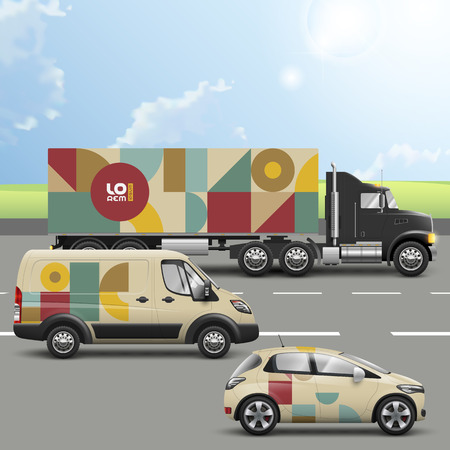 Vintage mosaic transport advertising design with color art geometric figures. Templates of the truck, bus and passenger car. Corporate identity