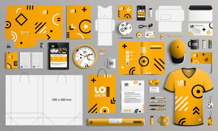 Orange corporate identity template design with geometric pattern. Business stationery