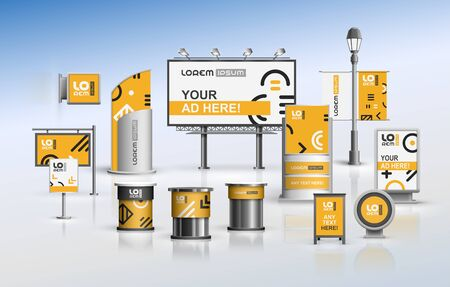Orange outdoor advertising design for corporate identity with geometric pattern. Stationery set