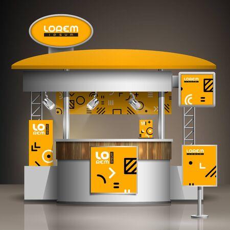 Conception de stand d'exposition orange avec motif géométrique. Modèle de stand. Identité d'entreprise