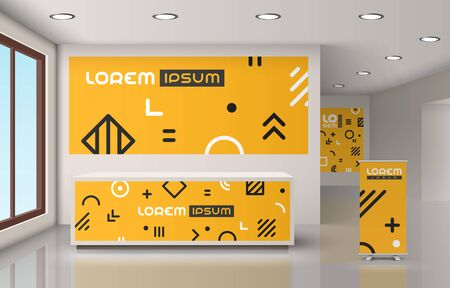Orange Creative office design with geometric pattern. Elements of interior advertising. Corporate identity