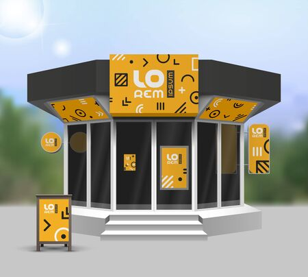 Orange store design with geometric pattern. Elements of outdoor advertising. Corporate identity