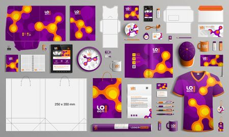 Purple corporate identity template design with orange molecules. Business stationery