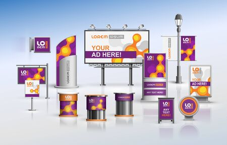 Purple outdoor advertising design for corporate identity with orange molecules. Stationery set Фото со стока - 148532503