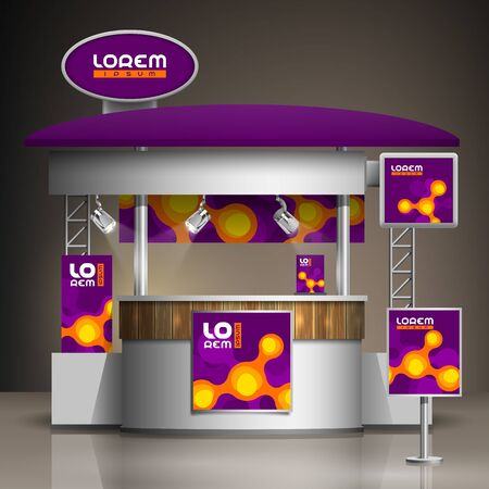 Purple exhibition stand design with orange molecules. Booth template. Corporate identity Фото со стока - 148531772