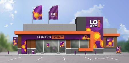 Purple store design with orange molecules. Elements of outdoor advertising. Corporate identity
