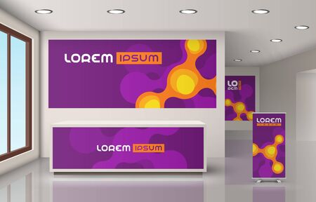 Purple office design with orange molecules. Elements of interior advertising. Corporate identity