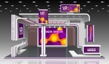 Purple exhibition stand design with orange molecules. Booth template. Corporate identity