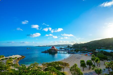 오키나와의 아름다운 해변 전경 스톡 콘텐츠