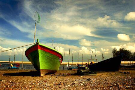pahang: Fishing boat at Cherating Beach in Kuantan, east coast of Malaysia Editorial