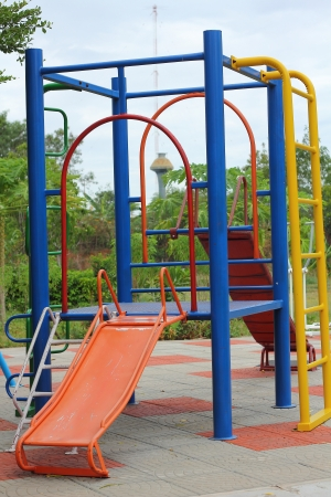 totter: Playground in garden Stock Photo