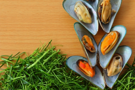 Mussel and Kaffir lime leaves photo