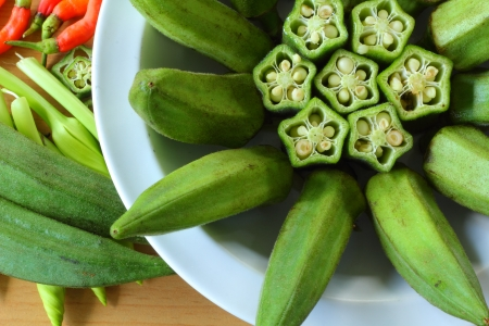 Okra on a plate  Stock Photo