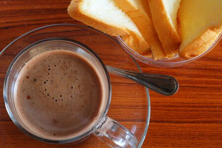Hot chocolate and bread photo