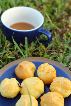 choux: Choux pastry and coffee Stock Photo