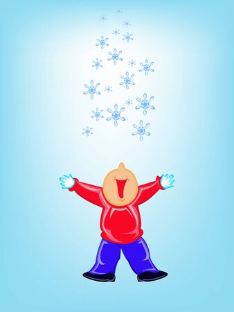 Kid and snow Vector