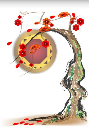 Sakura treen and china window Stock Vector - 17267269