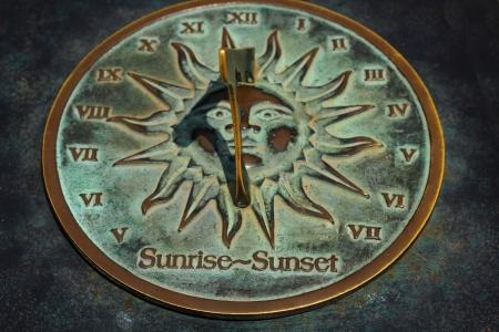 Old sun clock dial - Vintage sundial Stock Photo