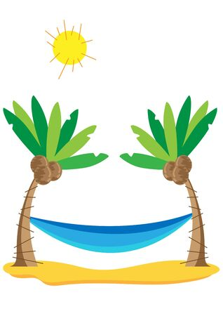Coconut trees and hammock  Vector