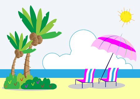 Coconut trees and beach chair Stock Vector - 18254155