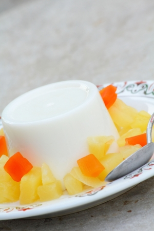 Milk with a fruit jelly  photo