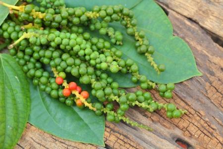 Fresh green peper on wood. Stock Photo - 18671809