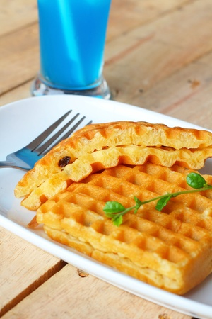 Sweet waffles and blue juice Stock Photo - 19161643