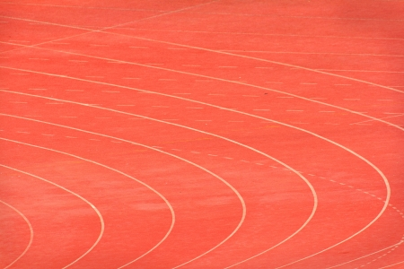 Red track in the stadium. photo
