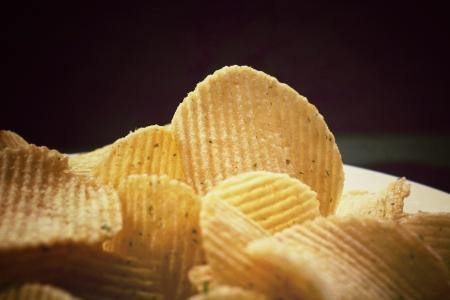 ポテトチップスのクローズ アップ