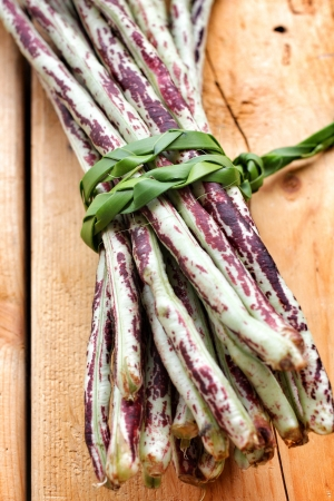 Purple yard long bean on wood background Stock Photo - 21554760