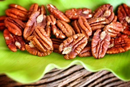 pecan: Close up brown pecan nut