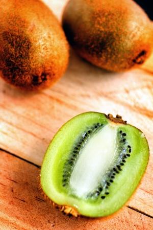freshest: Kiwi fruite on wood background