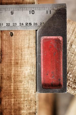 angle bar: Iron ruler with angle bar Stock Photo