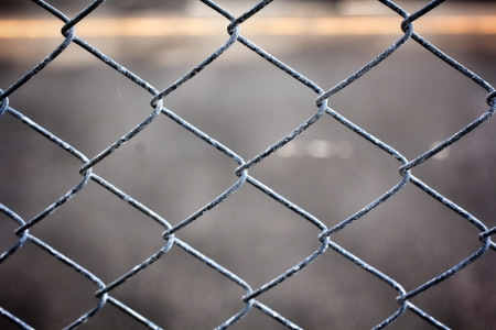 barbed wire fence: Old iron wire fence Stock Photo