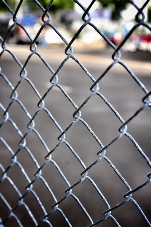 Old iron wire fence photo