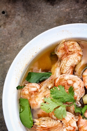 Prawn and lemon soup - Tom yum goong. photo