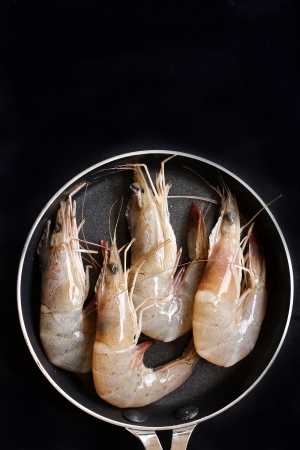 Fresh shrimp on the black background Stock Photo
