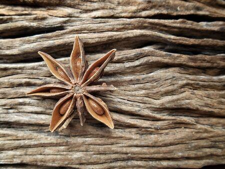 Star anise on wood background Stock Photo