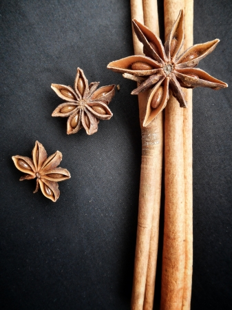 Star anise and cinnamon on black background